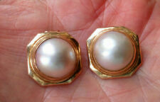 A Beautiful pair of MABE PEARL Earrings in 14 ct solid Gold  VGC ( Clips )
