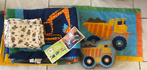 Child Boy CONSTRUCTION Bed Set TWIN Comforter 6 PCs - Dump Truck, Digger - Fun!!