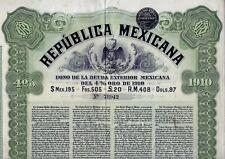 Republica MEXICANA 4% Bond 1910 ($ Mex 195 / RM.408/ 97 $ / 20 Pfund ) + Coupons