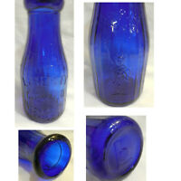 "NEW Cobalt Blue Glass 7"" Bottle Property of Liberty Milk Co Buffalo NY 1 Pint"