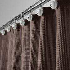 """Brown Extra Long 84"""" Waffle Weave Textured Farmhouse Fabric Shower Curtain"""
