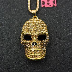 New Yellow Enamel Shiny Skull Crystal Pendant Betsey Johnson Chain Necklace