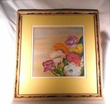 Watercolor Painting, Vital Color Flowers. Original Signed and Framed.
