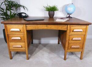 Oak Teacher's Desk  - 1930's  Large Attractive Oak Antique/Vintage Desk