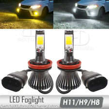 2X H11 H8 H9 LED Projector Fog Driving Light White&Yellow Dual Colors Bulbs KIT