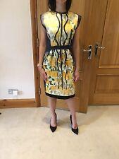 Lanvin Black & Yellow Silk Blend Cocktail Party Dress/UK 8