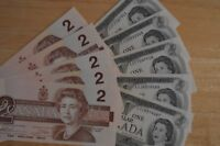 10 Uncirculated Canadian Banknotes    5 x 1973   $1.00    &    5 x 1986  $2.00
