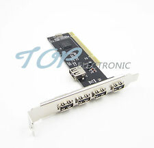 High Speed 480Mbps 5 Port USB 2.0 PCI Hub Card Controller Adaptor Module