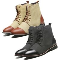 Mens Classic Split-Leather Chukka Desert Chelsea Lace Up Ankle Boots Dress Shoes