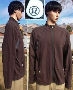 LULULEMON jacket mesh vents warm up track brown stretch running training men XXL