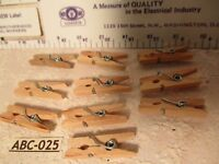 "10 VINTAGE Real Wood DOLL House Size 1"" MINIATURE Tiny CLOTHES PINS"