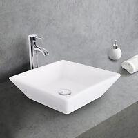 Square Ceramic Bathroom Vessel Sink W/Faucet Chrome White Bowl Combo Drain Hose