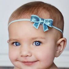Lady Heart Sequin Bow Baby newborn Soft Elastic Headband 7 colours ( Pack of 3 )