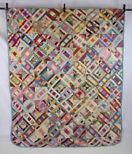 "Vtg Shabby Distressed LOG CABIN Patchwork Quilt Top Unfinished Chic Blanket 83"""