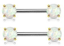 Nipple Ring Opal Glitter Front Facing Prong Set Ip over 316L Surgical Steel Pai