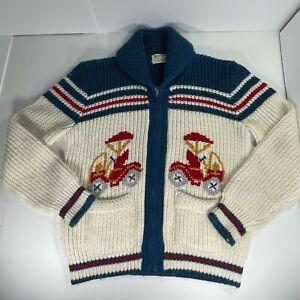 Vintage Virgin Orlon Sweater Knit Cars Golf Cart Zip Up 50's to 60's