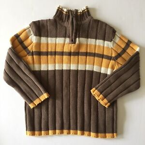 Childrens Place Boys Pullover Sweater Sz 4 Long Sleeve Mock Neck 1/4 Zip Brown