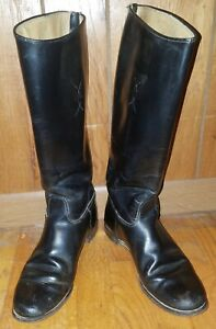 BLACK LEATHER KNEE HIGH RIDING EQUESTRIAN BOOTS MADE IN THE USA SIZE 7.5A