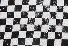 120cm(W)black white square sequin fabric 1 yard