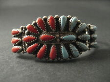 Incredible VINTAGE Navajo OVAL CLUSTER TURQUOISE AND CORAL Silver Bracelet Old