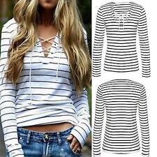 Damen Gestreift Bluse V-Ausschnitt Lace Up Langarm Shirt Hemd Oberteile Freizeit