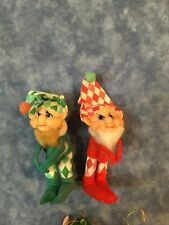 Two Vintage PIXIE ELF ORNAMENT Green/Red Diamond Outfit Bendable legs and Arms