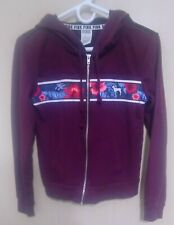Victoria Secret PINK Hooded Sweater Zip Up Maroon Size XS. Tropical Flowers.