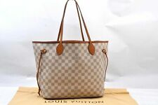 Authentic Louis Vuitton Damier Azur Neverfull MM Tote Bag N51107 LV A1152