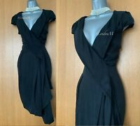 Karen Millen UK 10 Black Cupro Drape Asymmetric Hem Cocktail Race Dress DL004