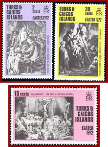 Turks + Caicos Islands 1972 Easter, paintings by Rembrandt  Sc 250-252, SG 365-7