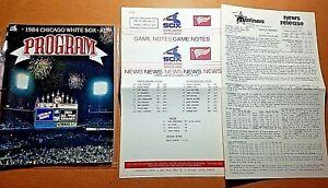 1984 Chicago White Sox Program w/ MEDIA PACKET vs. Mariners Hoyt vs. Langston