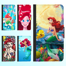 Galaxy S20 ultra S9 Note 8 Leather Flip Wallet Case Disney Princess Ariel Cover