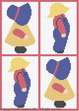 Crochet Patterns-SUNBONNET GIRL & OVERALL BOY Scrap Yarn Pattern