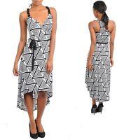 Ladies Asymmetric Black White High Low Party Dress SIZE 8 S 10 M 12 L NEW