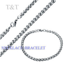 T&T 5mm 316L Stainless Steel WHEAT Chain Necklace with Bracelet SET