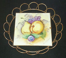 Vintage UCAGCO Signed Ceramic Tile Artwork Painting in Copper Round Frame NEATO