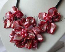 Nice Baroque Three Shell Flower & Cultured Pearls necklace Statement Bib