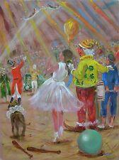 "LEON Goodman original ""le clown jaune"" circus chapiteau peinture"
