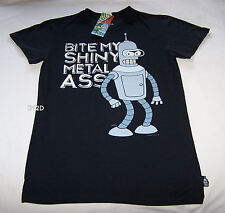 Futurama Bender Metal Ass Mens Black Printed T Shirt Size XS New