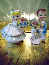 Very RARE VTG Blue Girl & Boy with Flowers Figurine Set GORGEOUS!