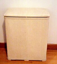 VINTAGE WOVEN WICKER LAUNDRY HAMPER CREAM/OFF WHITE CLOTHES BASKET STORAGE BOX