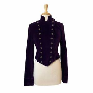 Lucky Brand Women's Vintage Purple Velvet Nautical Blazer Jacket Size Small