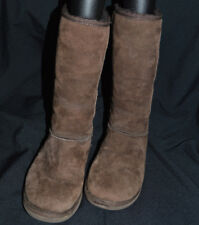WOMEN'S UGGS CLASSIC TALL DARK BROWN SUEDE SHEARLING BOOTS SIZE 8 5815