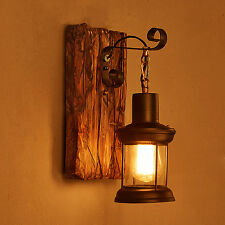 Loft Industrial Vintage Metal Wood Wall Lamp Wall Light Cafe Hallway Bedside us