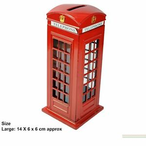 London Red Telephone Money Coin Box Piggy Bank Large British Souvenir Toy Gift