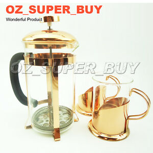Rose golden SET Tea Coffee Glass Maker 2 cups  600ml French Press Coffee Plunger