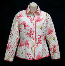 Anne Carson Quilted Barn Jacket Coat Women Size M White Pink Floral Silk Sequins