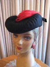 EYE-CATCHING 40'S BLACK FELT TILT HAT MOLDED BRIM, RED FEATHER & VEIL