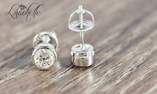 1.0 ct Brilliant Bezel Round Cut Earring Studs Screw Backs Solid 14K White Gold