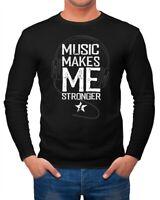 Herren Long-Sleeve Music makes me Stronger Spruch Statement Langarm-Shirt